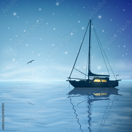 A Sailing Boat with Night Sky and Reflection on Water