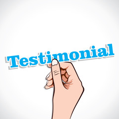 Testimonial word in hand stock vector