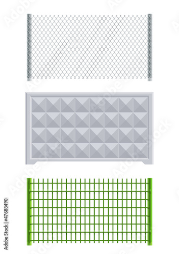 meallic net and concrete fence set of vector illustration