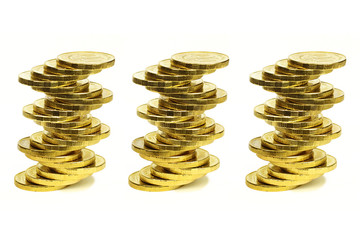 Columns from coins of yellow metal