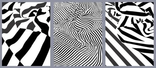 Effet graphique : trois drapés rayés noir et blanc