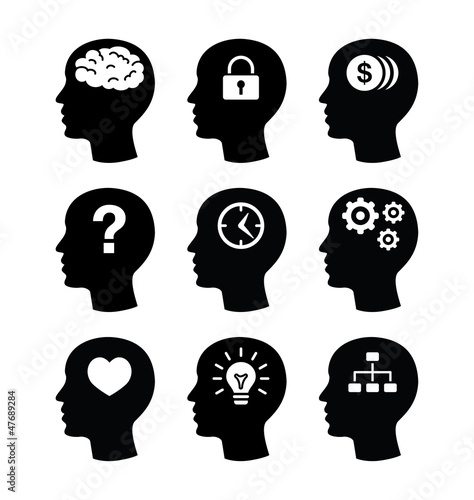 Head brain vecotr icons set