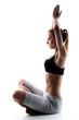 sporty and attractive woman do yoga exercise