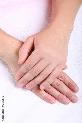 Close up of beautiful mid aged woman hands