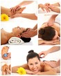 Collage of back, foot and head massage plus manicure