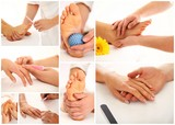 Manicure, pedicure and foot massage collage