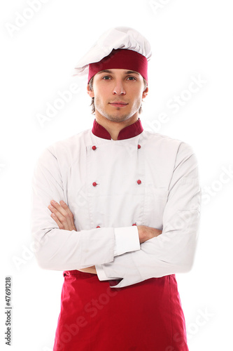 Young and handsome cook smiling portrait