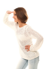 Attractive woman watching gesture over a white