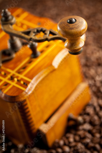 detail of antique coffee mill