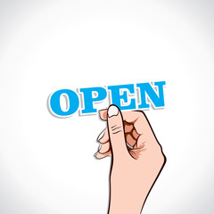 Open word in hand stock vector