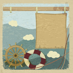 Abstract vintage background with a steering wheel and a lifeline