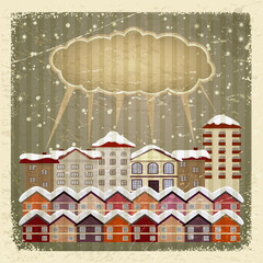 Vintage card with a retro image of the city and the cloud. eps10