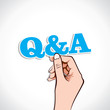 Q&A word in hand stock vector