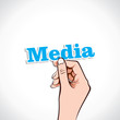 Media word in hand stock vector