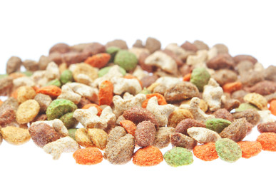 Multicolored food for cats and dogs. On a white background.