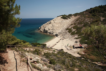 View down to a secluded Skiathos beach