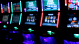 Slot machines videopoker glowing angle view