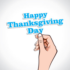 Happy  Thanksgiving Day word in hand