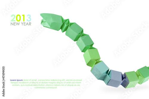 Origami green snake