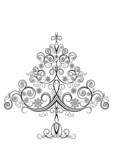 Openwork Christmas tree with snowflakes poster