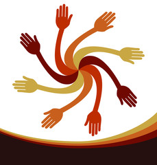 Working together hand design.