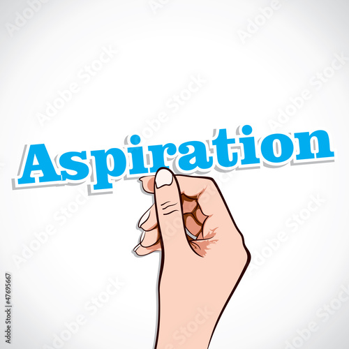 Aspiration word in hand stock vector