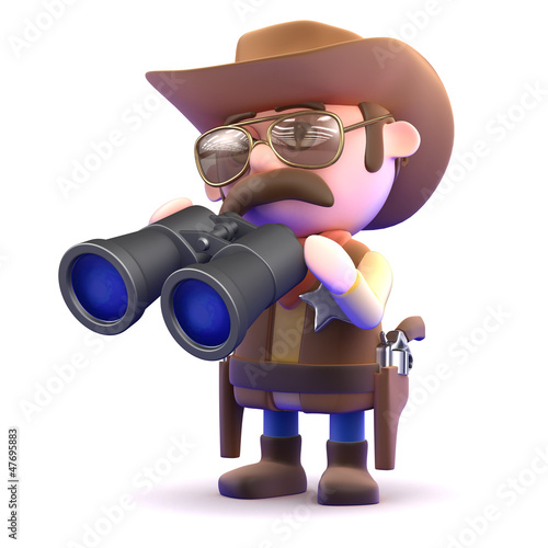 Cowboy scans the horizone with his binoculars
