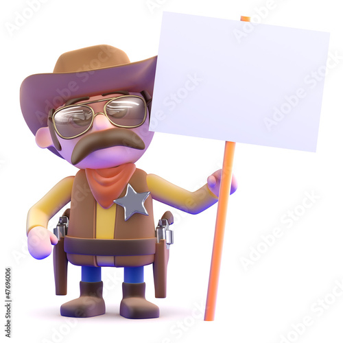 Cowboy holds a placard