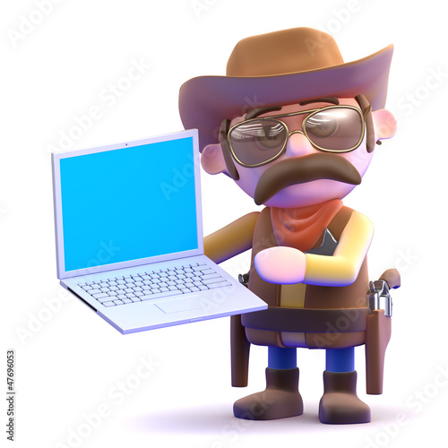 Cowboy with laptop