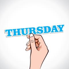 Thursday word in hand stock vector