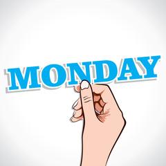 Monday word in hand stock vector