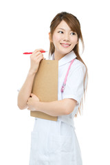 Beautiful asian nurse on white background