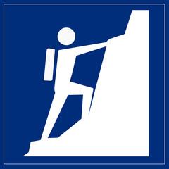 Schild blau - Klettersteig