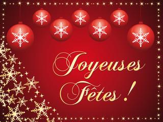 Cartes de voeux rouge et or. Joyeuses fêtes !