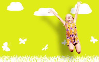 Girl jumping in a color dress on paint wall