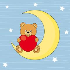 Oso sentado en la luna con un corazón