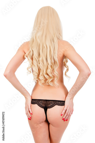 Naked backside of blonde woman