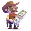 Cowboy has a fistfull of dollar bills