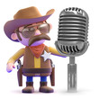 Cowboy croons into the old radio microphone