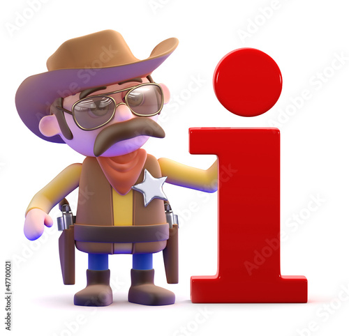 Cowboy at the information desk
