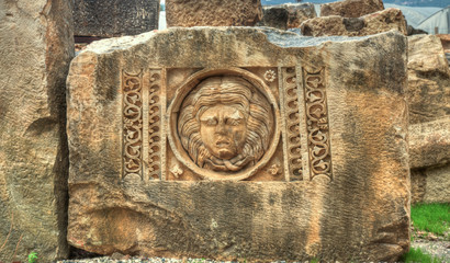 stone mask at ancient Myra Turkey