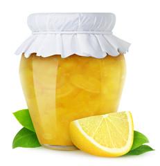 Lemon jam isolated on white