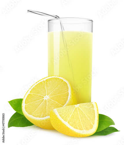 Lemonade or lemon juice isolated on white