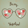 Valentine card with glasses, heart. Vintage design.