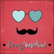 Valentine card with glasses, heart and mustache.