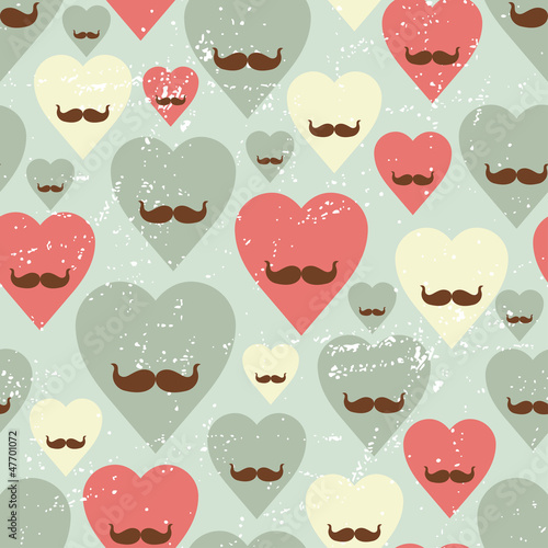 Valentine seamless pattern with heart and mustache. - 47701072