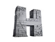 Stone Letter H in 3D
