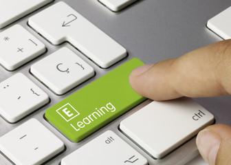 E-Lerning keyboard key. Finger