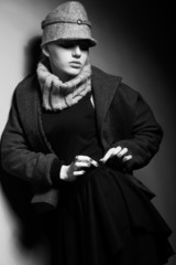 Elegant Lady in Trench and Trendy Cap - Old-fashioned Clothing