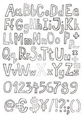 grunge zestaw liter cyfr i znaków monochrom szary na białym tle